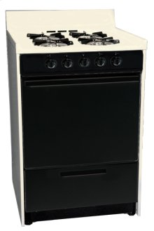 "Bisque gas range in slim 24"" width with pilot light ignition and black glass door; replaces STM610CEHJ"