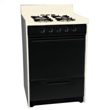 """Bisque gas range in slim 24"""" width with pilot light ignition and black glass door; replaces STM610CEHJ"""