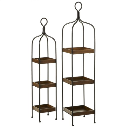 Three Tiered Square Wooden Shelf (2 pc. set)