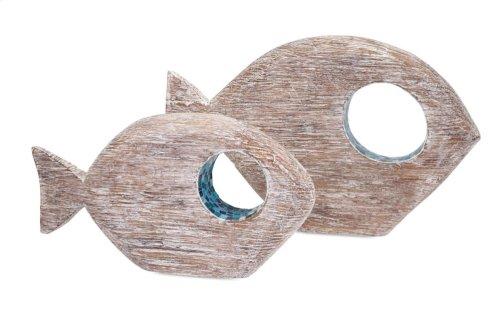Akua Wood and Mosaic Fish - Set of 2