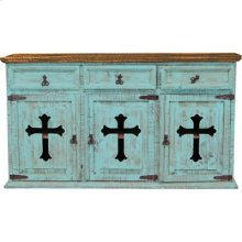 "Turquoise : 63"" x 21"" x 34"" Turquoise 3 Door/Drawer Buffet W/Cross"