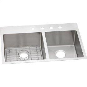 "Elkay Crosstown Stainless Steel 33"" x 22"" x 9"", 60/40 Double Bowl Dual Mount Sink Kit"