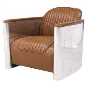 Easton PU Accent Chair Aluminum Frame, Distressed Caramel