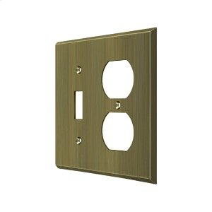 Switch Plate, Single Switch/Double Outlet - Antique Brass