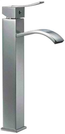 AB1158 Tall Brushed Nickel Tall Square Body Curved Spout Single Lever Bathroom Faucet