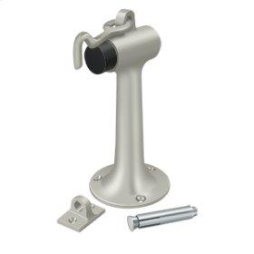 """Floor Mount, 6"""" Bumper w/ Hook & Eye, HD, Solid Brass - Brushed Nickel"""