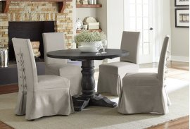 Round Dining Table - Weathered Pepper Finish