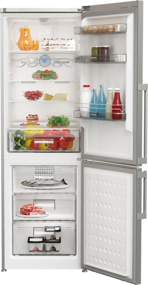 "24"" 13 cu ft bottom freezer fridge, stainless steel"