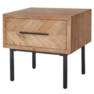 Belfast KD End Table 1 Drawer, Harbour Brown