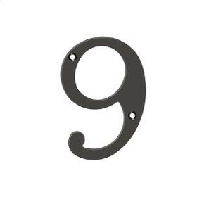 """4"""" Numbers, Solid Brass - Oil-rubbed Bronze"""
