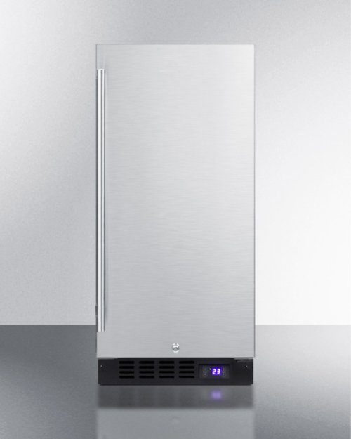 """15"""" Wide Frost-free Freezer for Built-in or Freestanding Use, With Reversible Stainless Steel Door and Lock"""