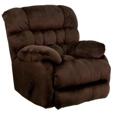 Contemporary Sharpei Chocolate Microfiber Rocker Recliner with Thick Tufted Back