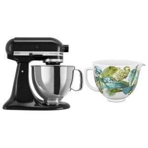 KitchenaidExclusive Artisan® Series Stand Mixer & Patterned Ceramic Bowl Set - Onyx Black
