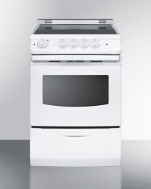"""24"""" Wide Smoothtop Electric Range In White, With Low 'slide-in' Backguard and Storage Drawer"""