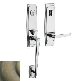 Satin Brass and Black Palm Springs 3/4 Escutcheon Handleset