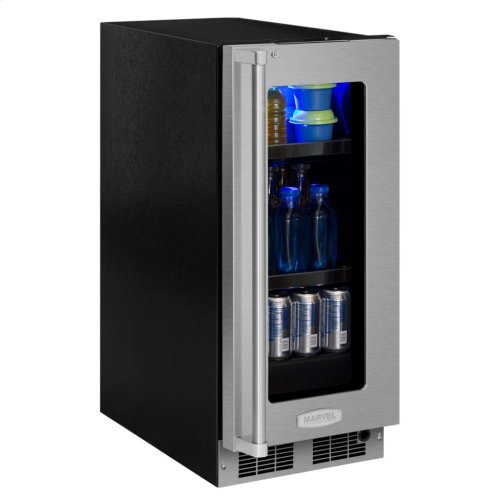 "15"" Beverage Center - Stainless Frame, Glass Door with Lock - Integrated Left Hinge, Professional Handle"