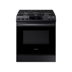 Samsung6.0 cu. ft. Front Control Slide-in Gas Range with Wi-Fi in Black Stainless Steel