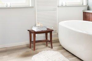 Preston Backless Non-swivel Rectangle Bath Stool - Walnut