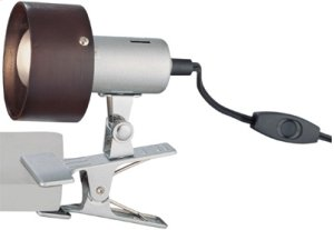 Clip-on Lamp, Silver, Dark Walnut Shade, E17 Type R 40w