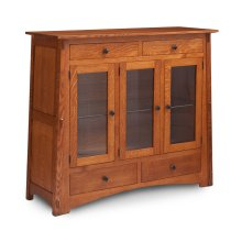 McCoy 3-Door Dining Cabinet, 3 Doors with Beveled Glass Doors and Wood Ends
