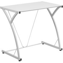 Contemporary Tempered White Glass Computer Desk with Matching Frame