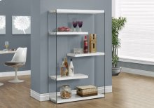 """BOOKCASE - 60""""H / GLOSSY WHITE WITH TEMPERED GLASS"""