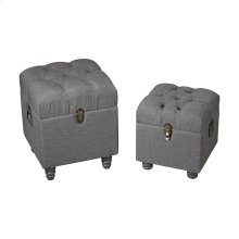 Grey Linen Storage Benches