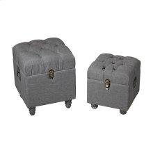 Grey Linen Storage Benches