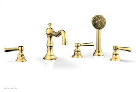 HENRI Deck Tub Set with Hand Shower with Lever Handles 161-49 - Satin Gold