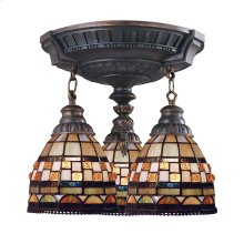 Jewelstone 3-Light Semi Flush in Aged Walnut with Tiffany Style Glass