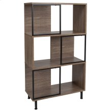"""Paterson Collection 3 Shelf 26""""W x 45.25""""H Bookcase and Storage Cube in Rustic Wood Grain Finish"""