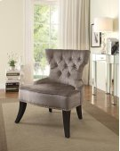 Colton Vintage Style Button Tufted Velvet Chair With Nailhead Detail and Spring Seat In Brilliance Otter Fabric. Product Image