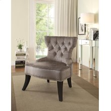 Colton Vintage Style Button Tufted Velvet Chair With Nailhead Detail and Spring Seat In Brilliance Otter Fabric.