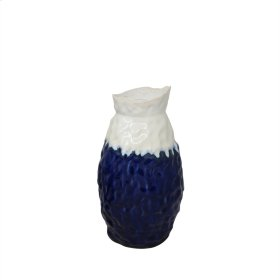 "Ceramic Vase 12.5"", White / Blue"