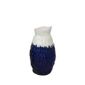 """Ceramic Vase 12.5"""", White / Blue"""