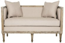 Leandra Linen French Country Settee - Taupe / Rustic Oak