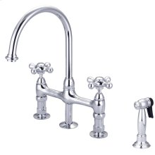 Harding Kitchen Bridge Faucet with Sidespray and Metal Cross Handles - Polished Chrome