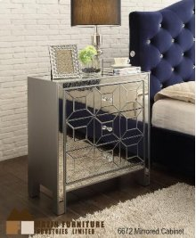 Mirrored 3 Drawer Cabinet