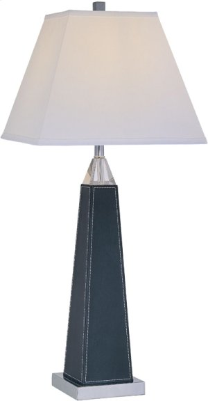 Table Lamp, Chrome/blk Leather/crystal/white Shade, A 100w