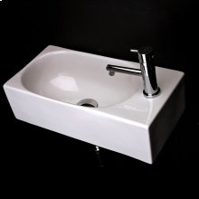Wall-mount or above-counter porcelain Bathroom Sink with one faucet hole on the right, no overflow. Wall brackets are included