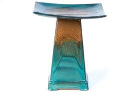 Large Zen Birdbath - Brown/Atlantis Blue