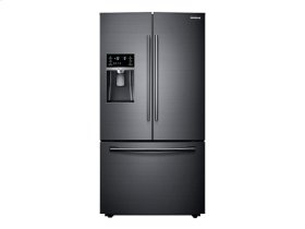 Samsung 4pc. Black Stainless Steel kitchen package with 23. cu.ft. counter depth French door refrigerator and slide-in convection gas range