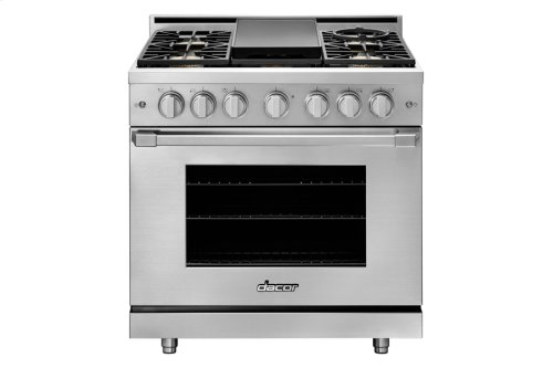 """36"""" Heritage Gas Pro Range, Silver Stainless Steel, Natural Gas/High Alttitude"""