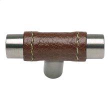 Zanzibar Brown Leather Knob 1 7/8 Inch - Stainless Steel