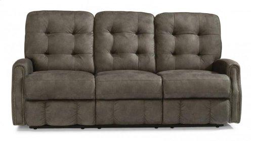 Devon Fabric Power Reclining Sofa with Nailhead Trim