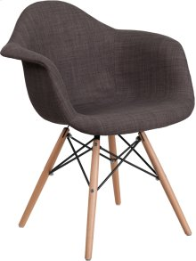 Alonza Series Siena Gray Fabric Chair with Wooden Legs