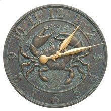 """Crab Sea Life 16"""" Indoor Outdoor Wall Clock - Bronze Verdigris"""