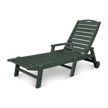 Green Nautical Chaise with Arms & Wheels