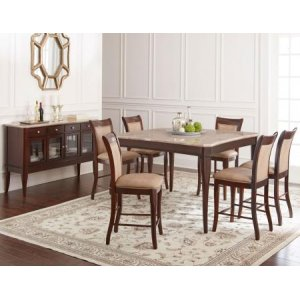 Steve Silver Co.Marseille 7 Piece Marble Top Counter Set(Counter Table & 6 Counter Chairs)