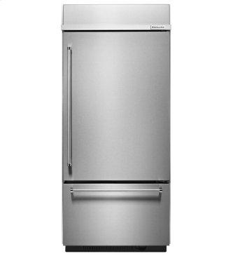 "KitchenAid® 20.9 Cu. Ft. 36"" Width Built-In Stainless Bottom Mount Refrigerator with Platinum Interior Design - Stainless Steel"